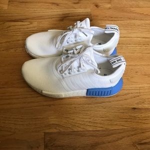 Adidas NMD_R1 WHITE with blue 7.5 women brand new
